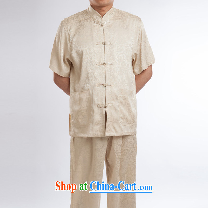 2015 new half sleeve and collar male summer Chinese improved ethnic wind and short-sleeved Tang with beige A 195