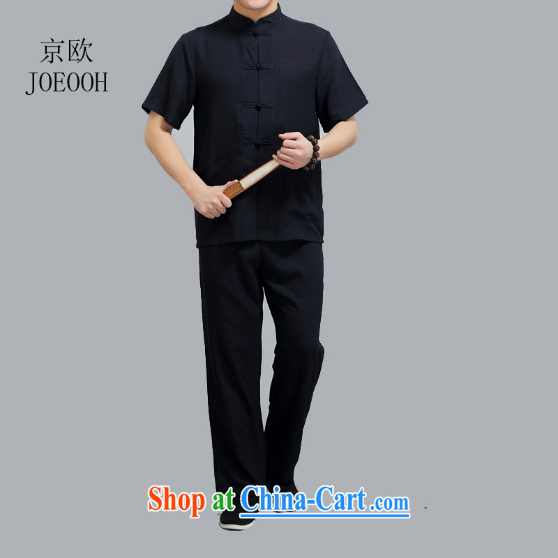 Putin's European Summer thin linen short-sleeve kit Tang in older men's leisure and indeed increase cotton the Chinese shirt and black 4 XL/190