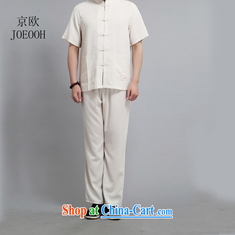 The Beijing Summer thin cotton mA short-sleeve China wind Chinese shirt, old men leisure manual tray snap beige 4 XL/190