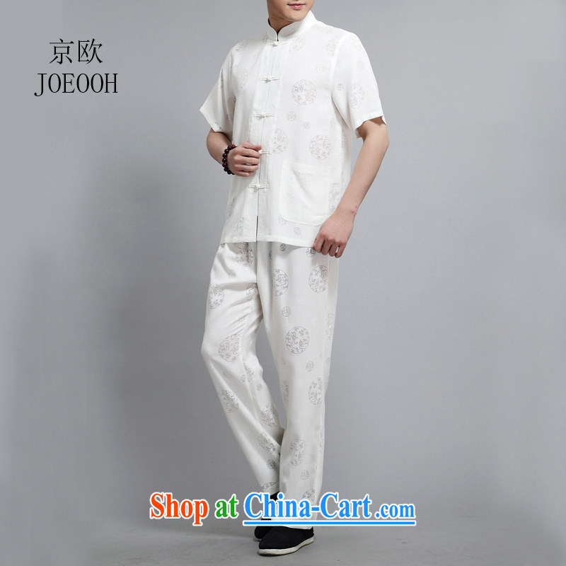 Europe's new summer, the Commission the dragon short sleeve with Chinese men and older men cotton Ma relaxed casual shirt T-shirt white 4XL/190, Beijing (JOE OOH), online shopping