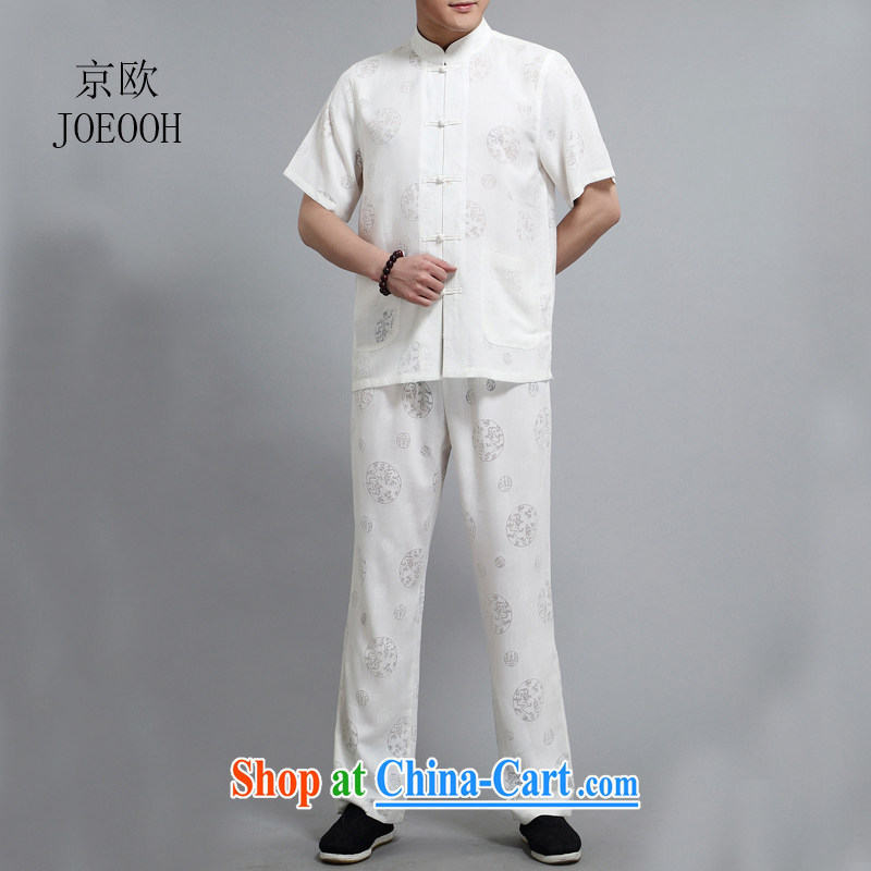 Beijing in the older summer With Grandpa short sleeve large code Chinese men and set the Kowloon Yau Ma Tei cotton half sleeve Tang replace linen package white 4XL/190