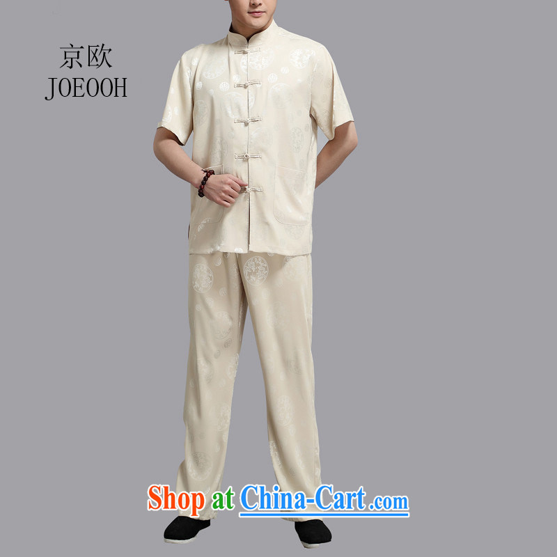 Beijing summer the older the Kowloon Tong on China wind men's short-sleeved older persons male package with Grandpa gold 4 XL_190