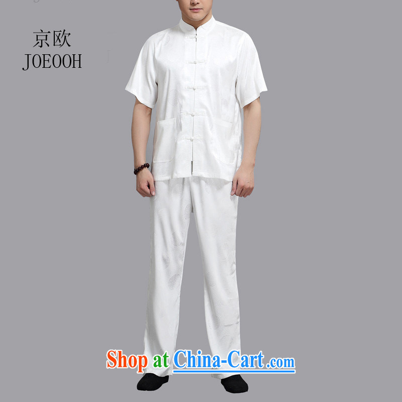 The Beijing Summer men Tang in older red circle of Chinese men and loose-kit white 4XL/190