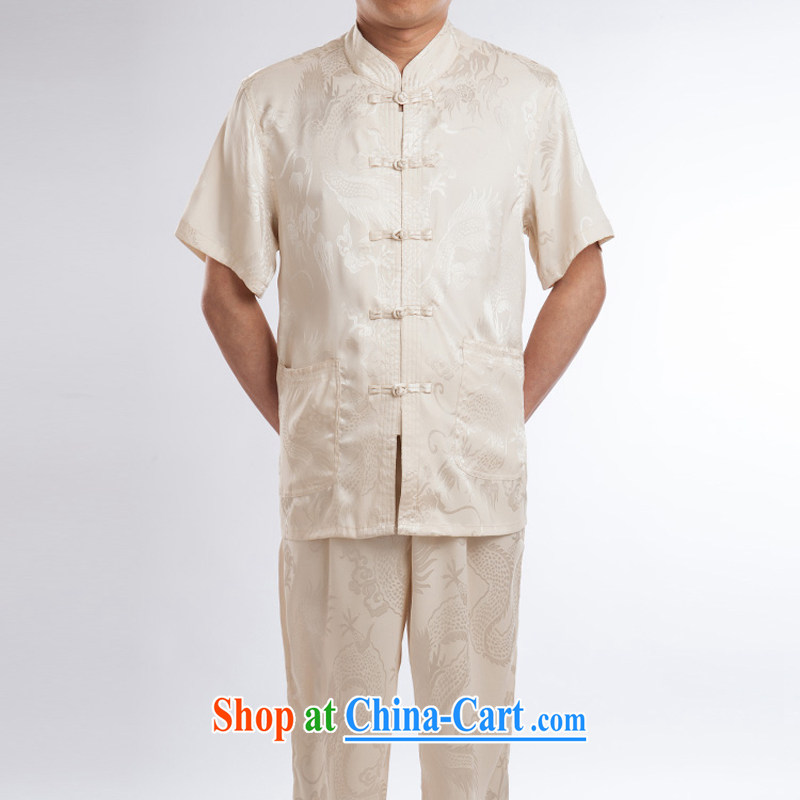 2015 spring_summer men's Chinese short-sleeved T-shirt, older Chinese men and ethnic clothing beige A 190