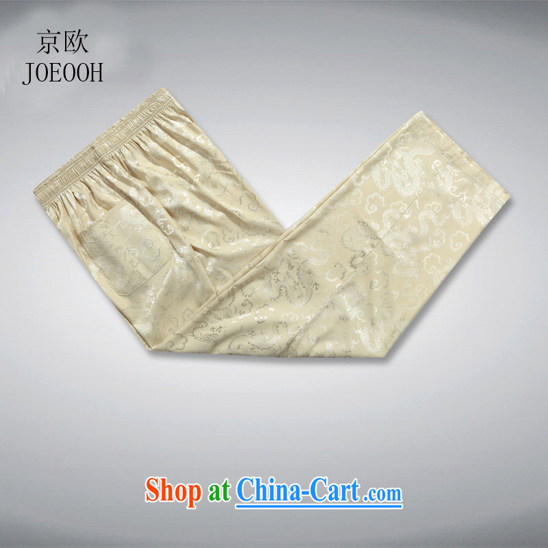 Putin's European men's China wind Chinese Leisure Long pants older Elasticated waist-tai chi kung fu trousers beige XL