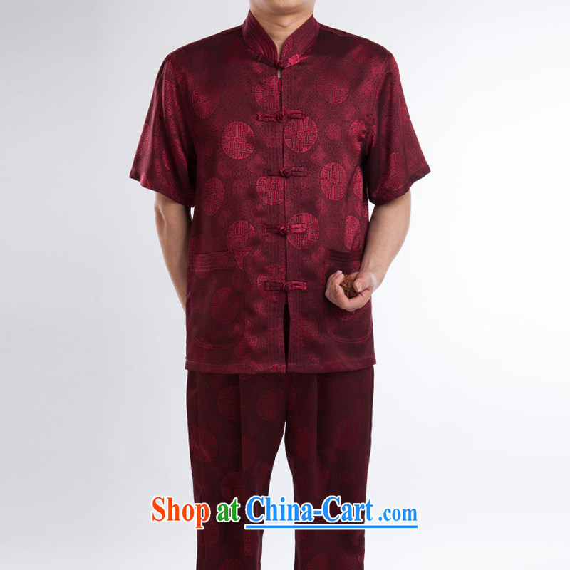 Men's Chinese summer, older Chinese shirt silk short-sleeved Tray Charge-back the collar Red Kit 195