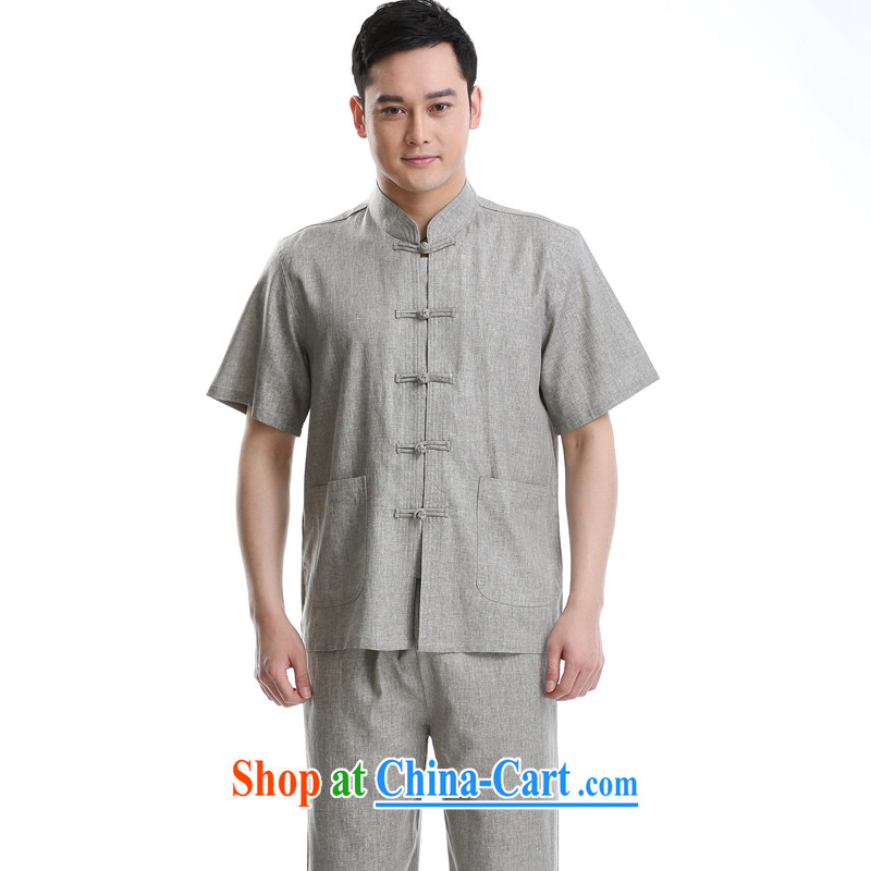 2015 summer short-sleeved cotton the male Chinese Chinese, for cultivating small shirt gray a 195