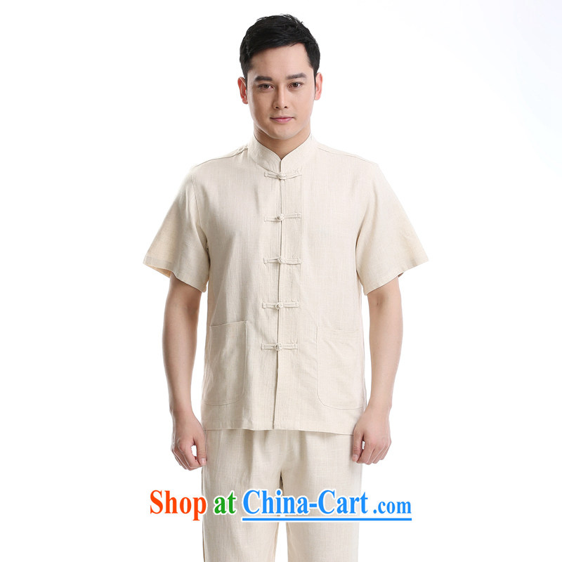 Summer 2015 new middle-aged and older Chinese men and a short-sleeved, serving casual relaxed and smock collar men Tang replace Kit beige a 195