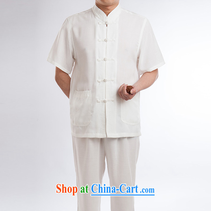 Tang is set short-sleeve men's linen Tai Chi clothing cotton the linen clothes martial arts practitioners serving meditation cynosure serving casual Tang fitted T-shirt men package half sleeve male white a 185
