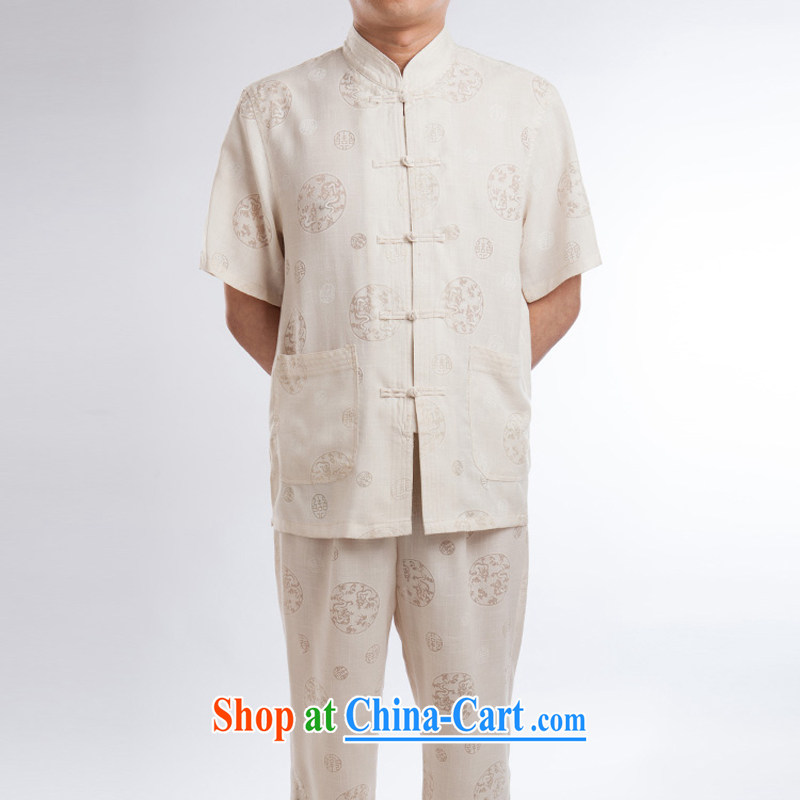 Linen men's Chinese package China wind short sleeve plus the pants summer hand-tie the collar antique Chinese ethnic clothing beige a 195