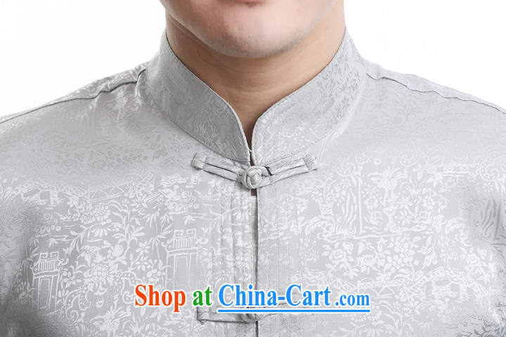 Men's short-sleeved short summer with new products and fragrant cloud yarn silk Chinese shirt-sleeves T-shirt, older men, Tang with beige 195 pictures, price, brand platters! Elections are good character, the national distribution, so why buy now enjoy more preferential! Health