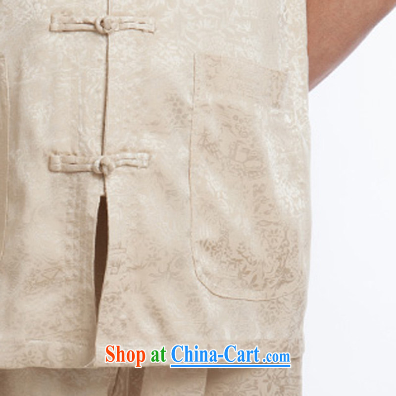 Men's short-sleeved short summer load new products men's fragrance cloud yarn silk Tang with a short-sleeved shirt T-shirt, older men, Tang with beige 195, the child (MORE YI), shopping on the Internet