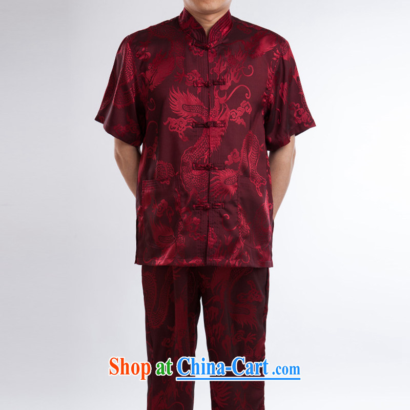 2015 spring and summer China wind men's T-shirt with short sleeves, elderly Chinese men and silk dress Chinese Tai Chi kung fu T-shirt jacket red a 195