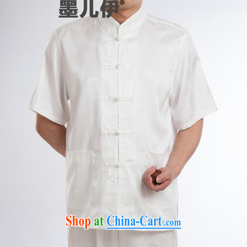 Men's Chinese silk High Tang replace summer short-sleeve older boutique summer white 180