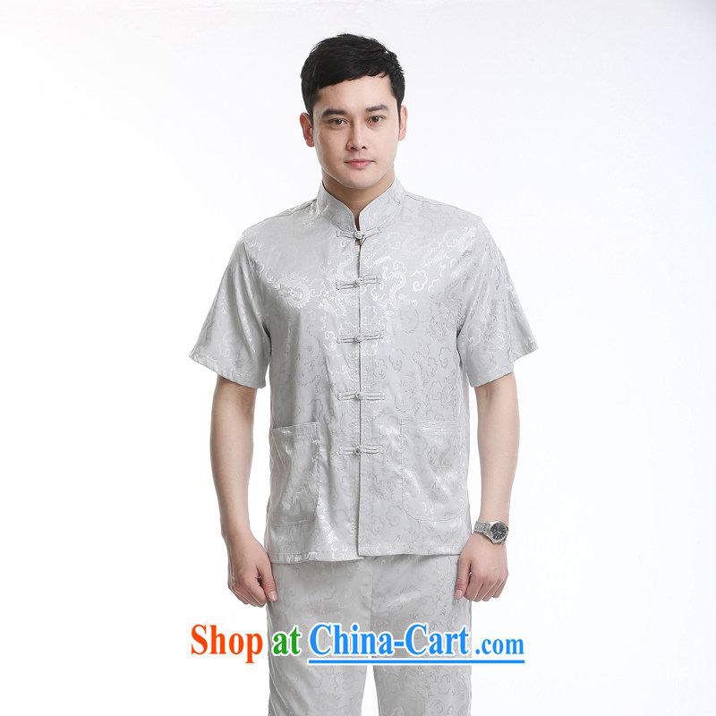 Chinese men and new short-sleeved Tang package installed in the older men's casual summer Chinese clothing elderly gray a 170