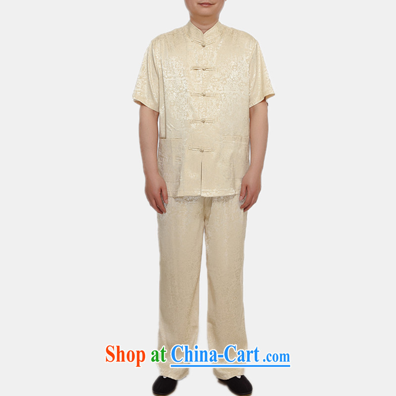 Princess Selina CHOW in male-tang load package summer thin China wind-buckle old men short-sleeved Tang mounted Kit Dad T-shirt with the River During the Qingming Festival, dark blue T-shirt, 165
