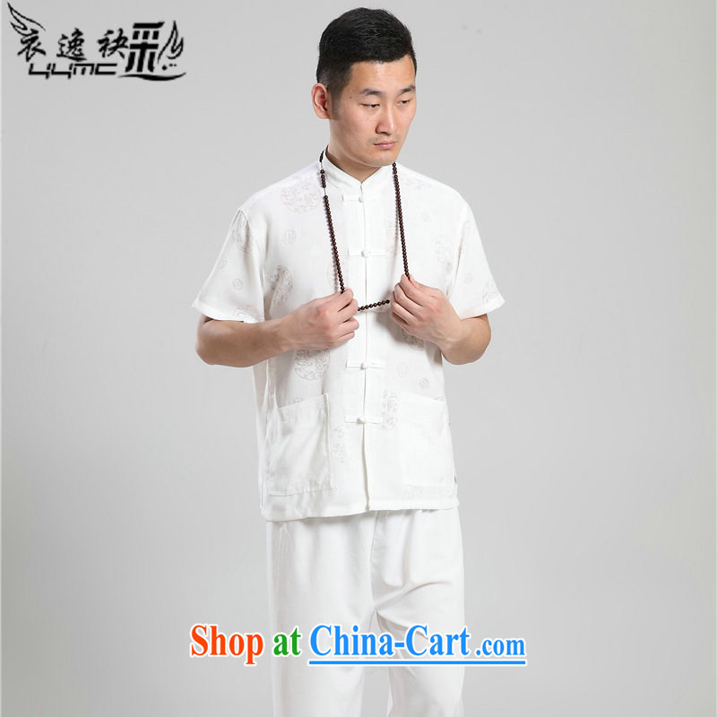 Yi area once and for all in an older persons summer men's short-sleeved cotton the Chinese men's short-sleeved Han-short-sleeved Tang on the code 07 - Tang replace circle white 42
