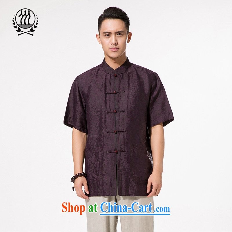 and mobile phone line short-sleeved short summer load new products men's fragrance cloud yarn and silk Tang with a short-sleeved shirt T-shirt, Old Man Tang replace Hong Kong cloud yarn deep purple XXXL_190