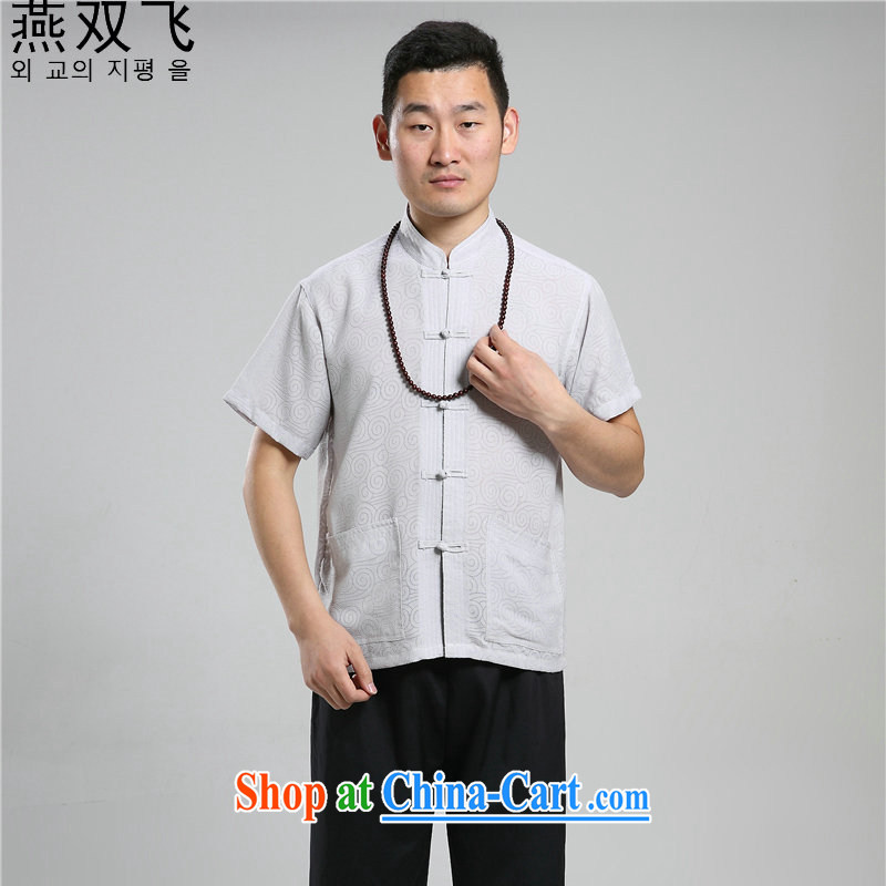 Yan-fei older persons in summer men's short-sleeved cotton the Chinese men's short-sleeved Han-short-sleeve Tang on the code 07 - Tang replace circle gray 42