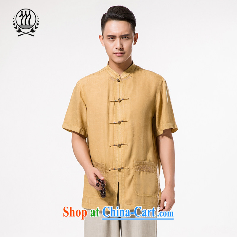 New Men's day, and for the charge-back short-sleeved T-shirt men's Chinese elderly in very casual Chinese Chinese silk short-sleeved T-shirt and indeed intensify his father with pale yellow�XXXL/190