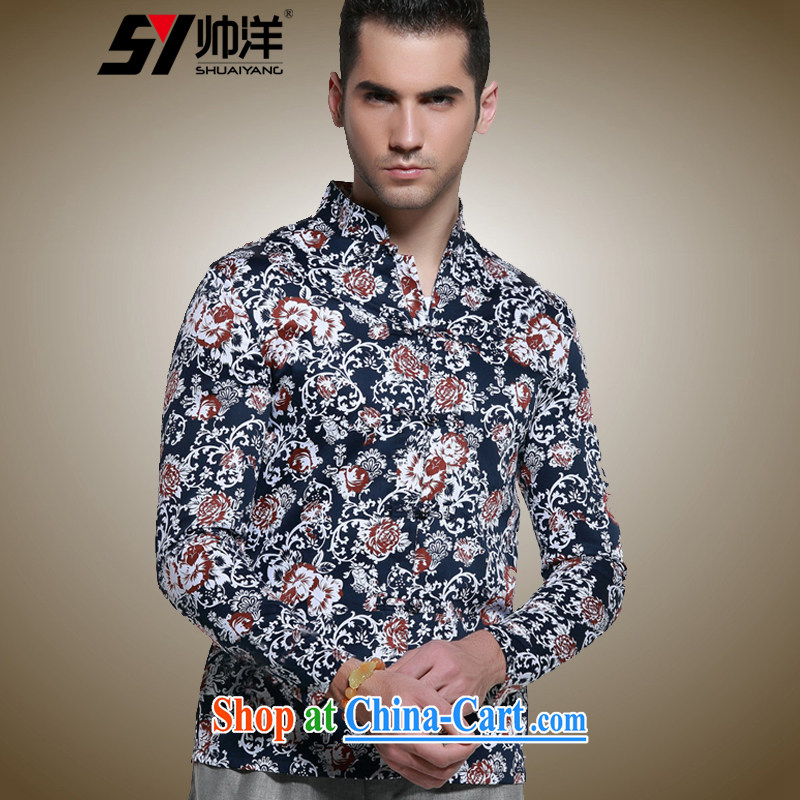 cool ocean autumn and the new men's long-sleeved Chinese shirt, cultivating for Chinese Antique male Chinese wind cotton stamp shirt hand-tie hidden cyan 42/180