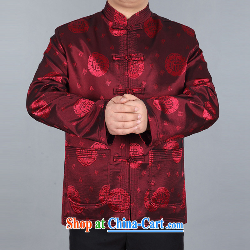 The Royal free Paul 2015 spring loaded new Chinese men's long-sleeved T-shirt, older Chinese jacket men and national costumes China wind men's jackets package mail red 190_3 XL