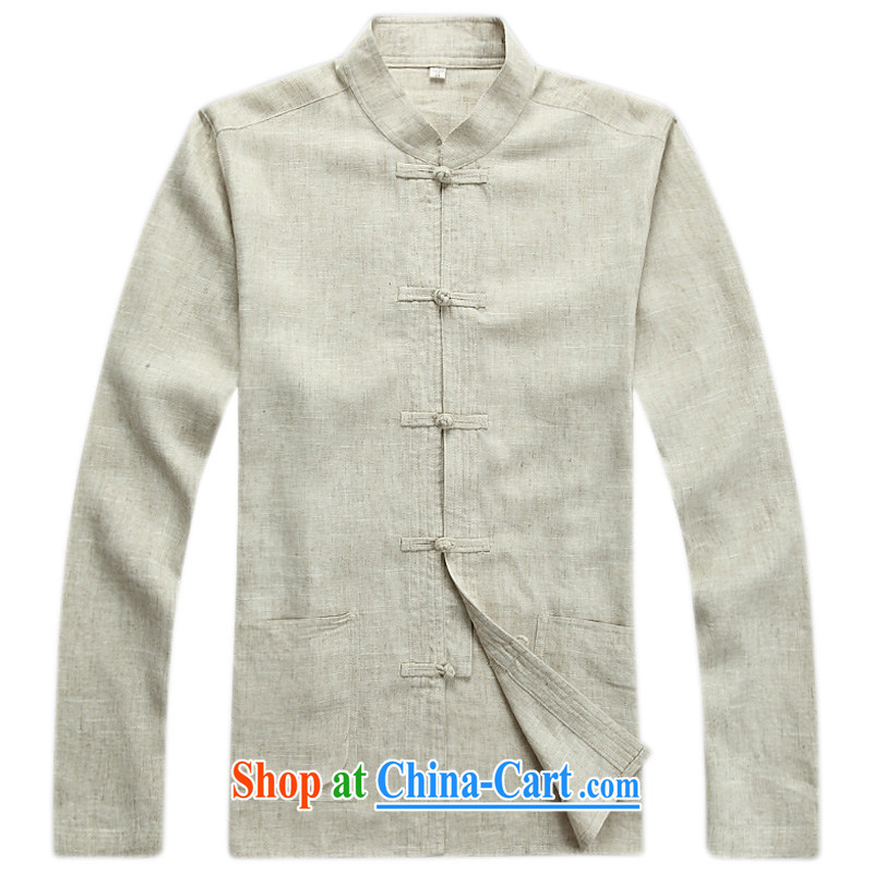 The Royal free Paul 2015 New Tang is in the Men's old men Tang long-sleeved T-shirt with old life clothing Tang jackets China wind package mail beige 180_XL