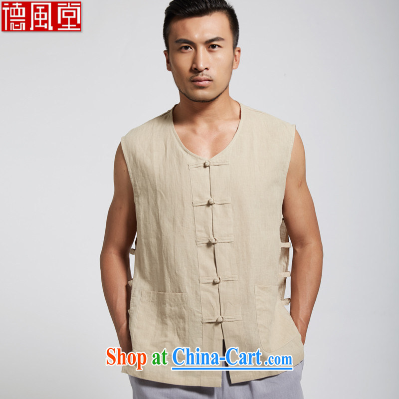 De-tong, the Summer 2015 new pure cotton shirts Chinese Khan eschewed vest Park in older vest T-shirt yellow 4 XL