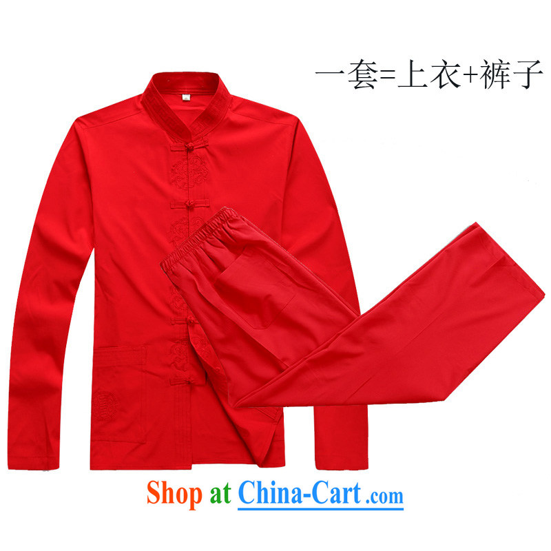 The Royal free Paul 2015 new Chinese men and elderly people in long-sleeved Tang package with old clothes life Tang jackets China wind package mail 2048 red_A 180