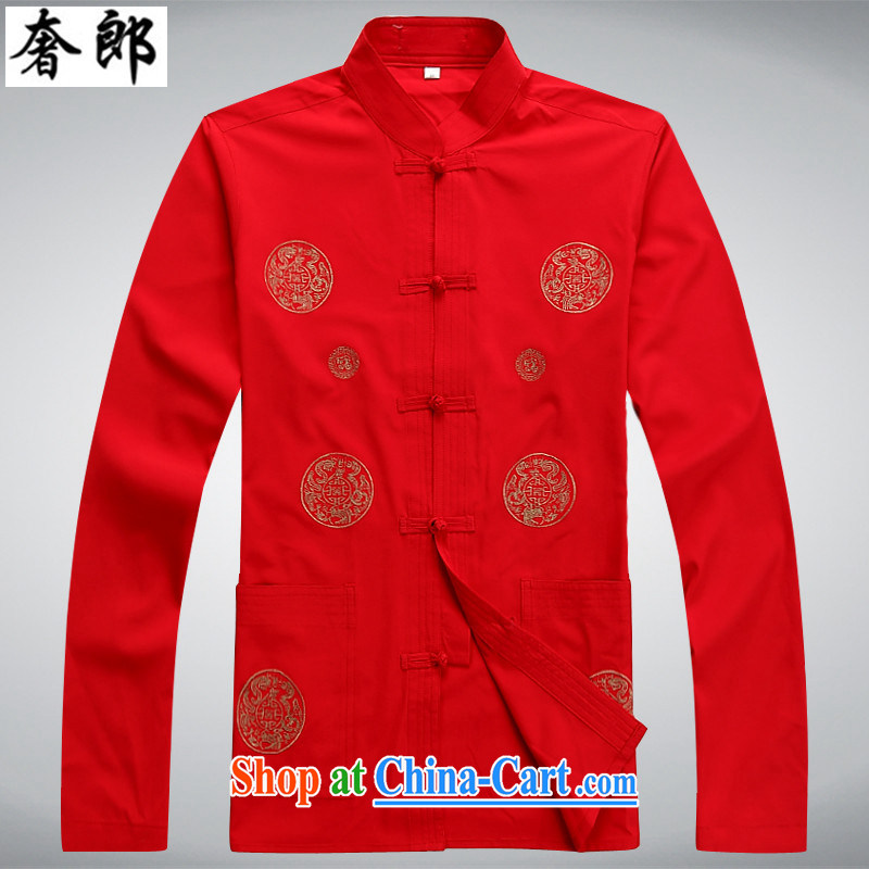 extravagance, new men's Chinese long-sleeved kit, older people smock spring and summer with Han-grandfather jacket with Sauna silk China wind Han-cynosure serving practitioners serving red long-sleeved Kit 170_M