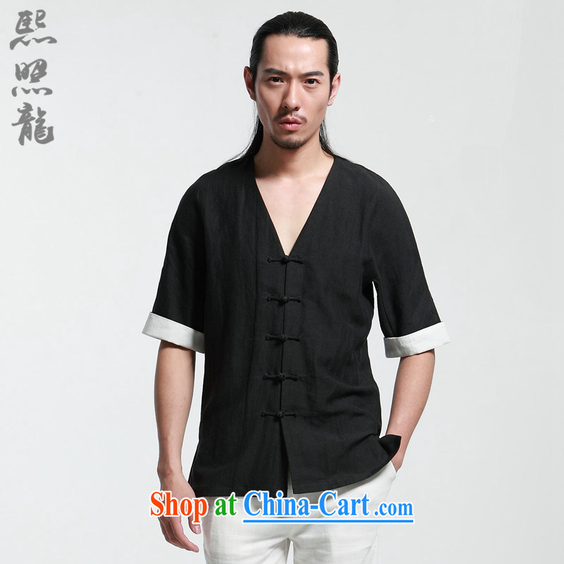 Mr Chau Tak-hay snapshot Dragon 2015 summer New Men Tang replace short-sleeved shirt V New Chinese improved thin stylish Tang black XL