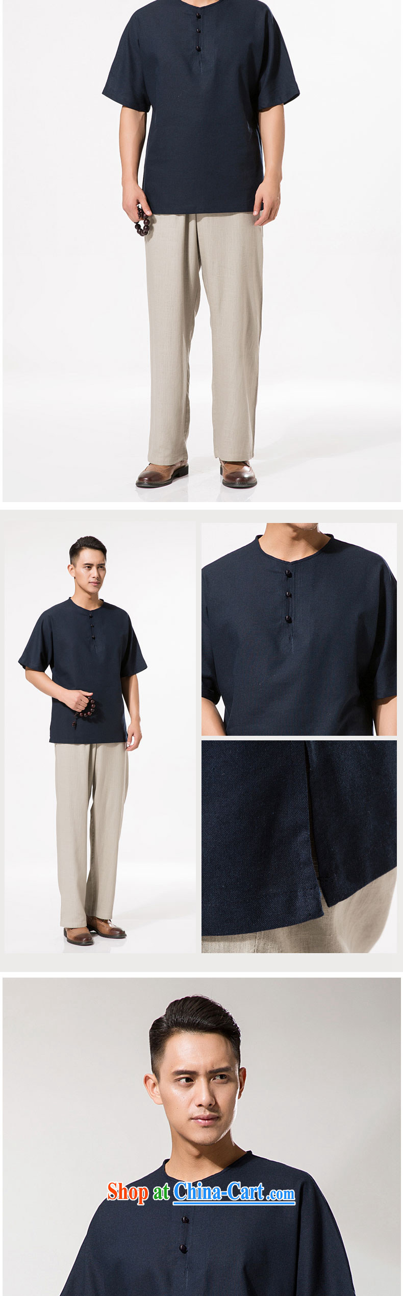 New summer China wind men's round-collar and cotton the Chinese cotton Ma short-sleeved shirt relaxed and comfortable cotton Ma men short-sleeve T-shirt dark blue XXXL/190 pictures, price, brand platters! Elections are good character, the national distribution, so why buy now enjoy more preferential! Health