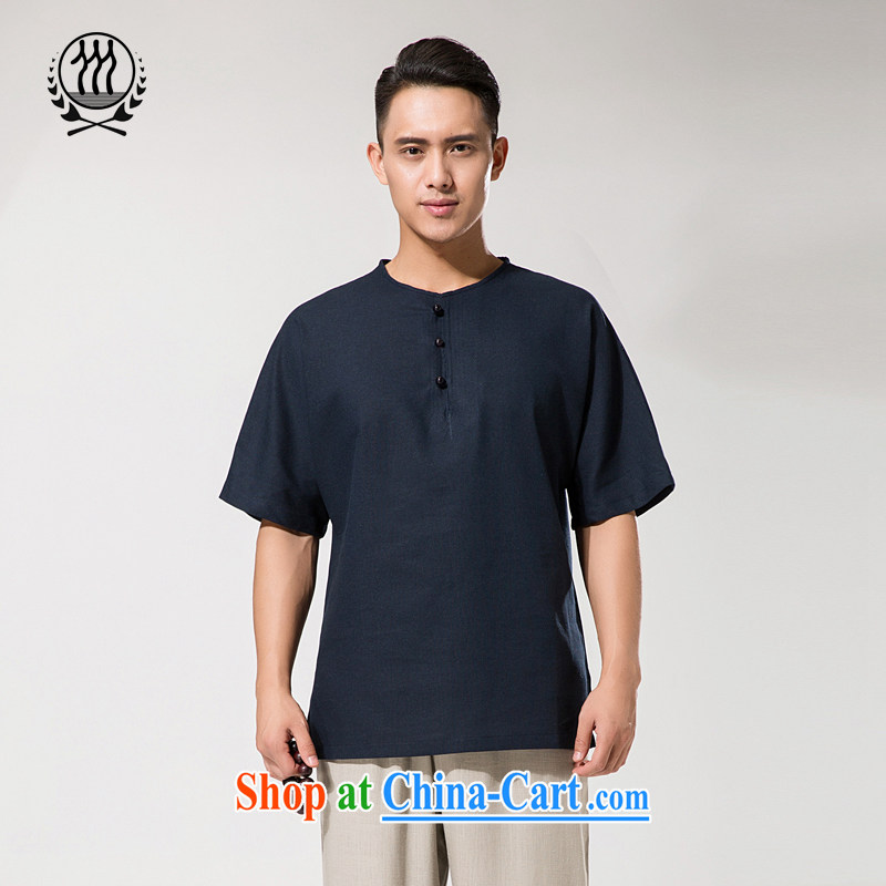 New summer China wind men's round-collar and cotton the Chinese cotton Ma short-sleeved shirt relaxed and comfortable cotton Ma men short-sleeve T-shirt dark blue XXXL/190