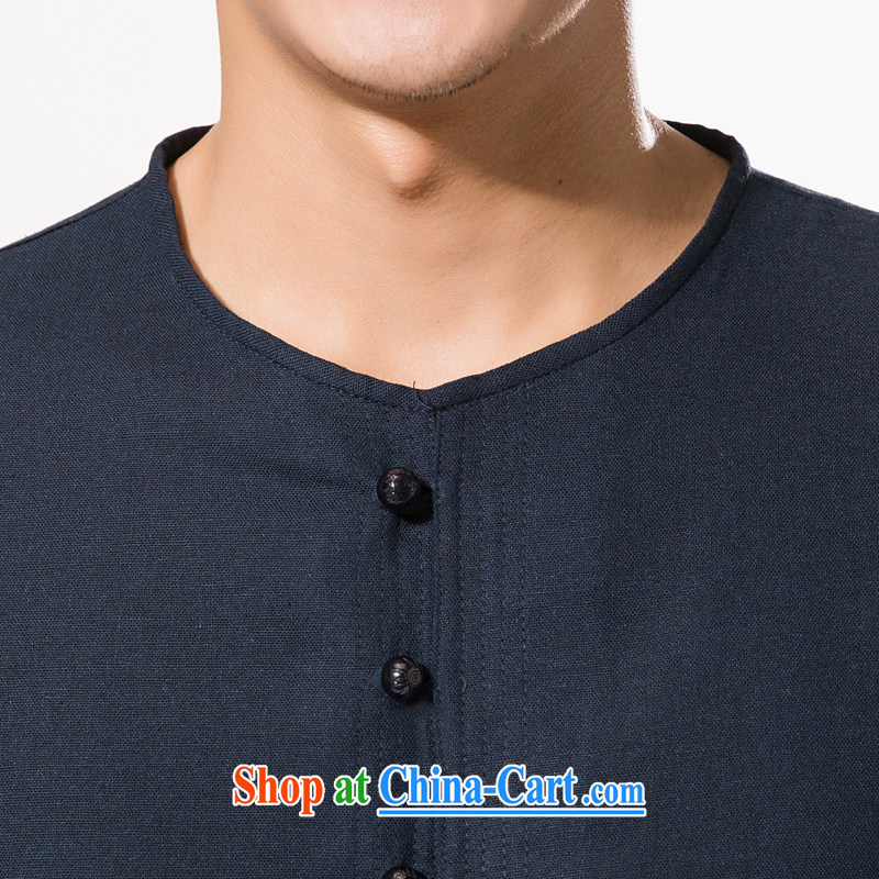 New summer China wind men's round-collar and cotton the Tang with the cotton T-shirt with short sleeves relaxed and comfortable cotton Ma men short-sleeved T-shirt dark blue XXXL/190, and mobile phone line (gesaxing), and, on-line shopping