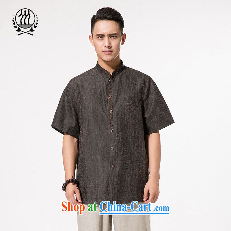 Men's summer Tang replace Hong Kong cloud yarn Tang with men short-sleeved silk shirt half sleeve older silk men and very casual China winds, father with brown XXXL_190