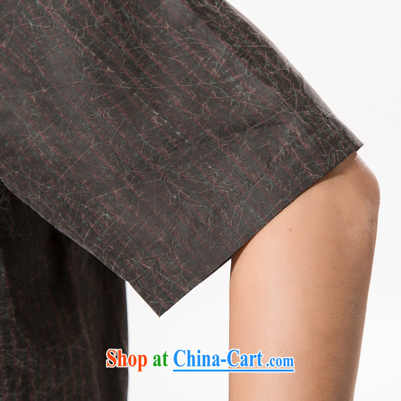 Men's summer Chinese fragrant cloud yarn Chinese men's short-sleeved silk shirt half sleeve, old Silk men and very casual China winds, father with brown XXXL/190, and mobile phone line (gesaxing), and, on-line shopping
