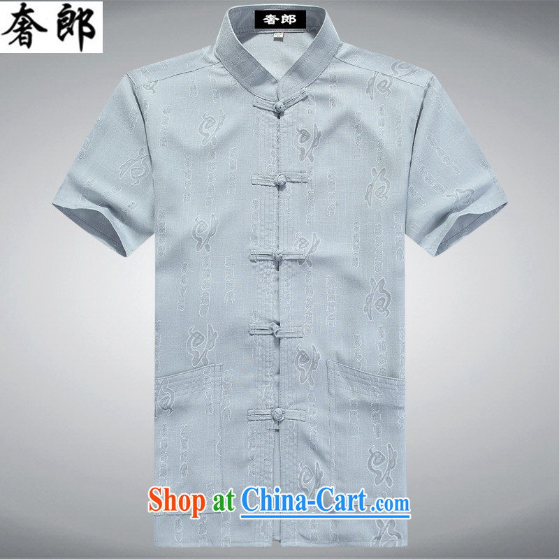 extravagance, older persons in summer men's short-sleeved cotton the Chinese men's short-sleeved, served short-sleeve Tang load package the code blue gray package 190_XXXL