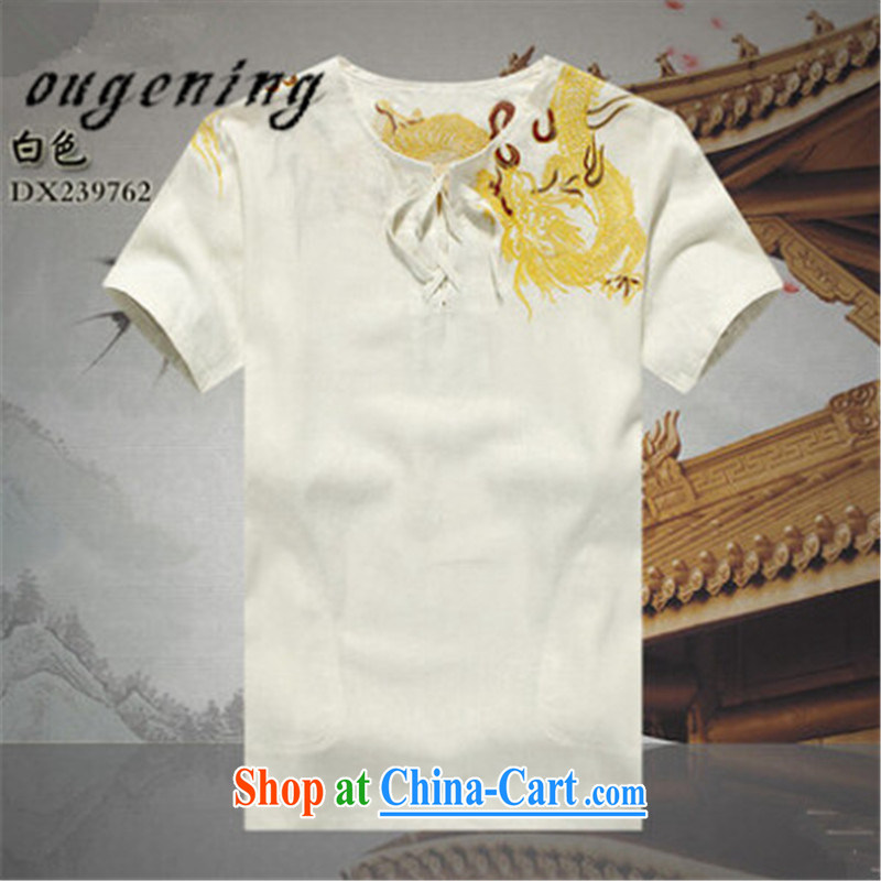 The dessertspoon, summer 2015, men's linen china wind short-sleeved men young Chinese men's shirts cotton mA short-sleeve shirt T summer father with older Load white L 175_92