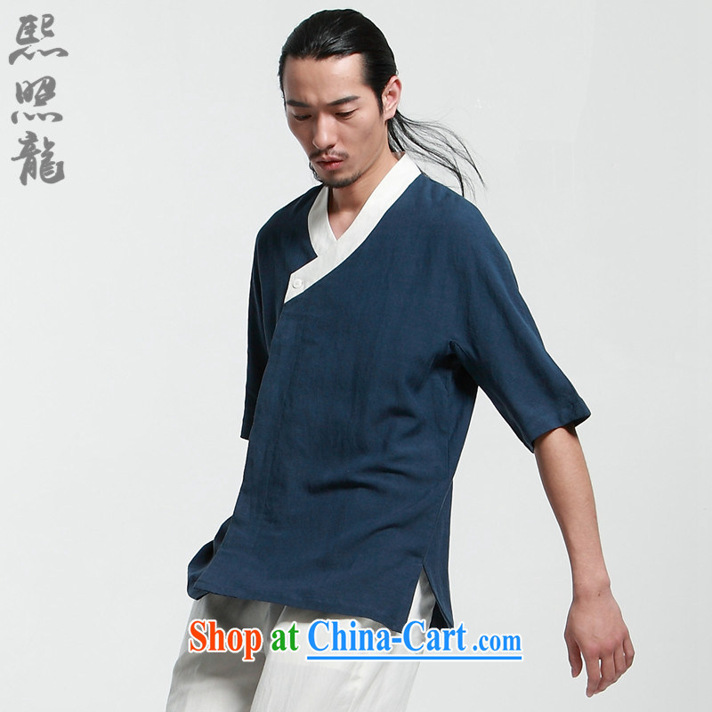 XZAOLONG_Hee-snapshot, Han-men in Loose Cuff, for improved Han-Chinese clothing Zen tea service blue M