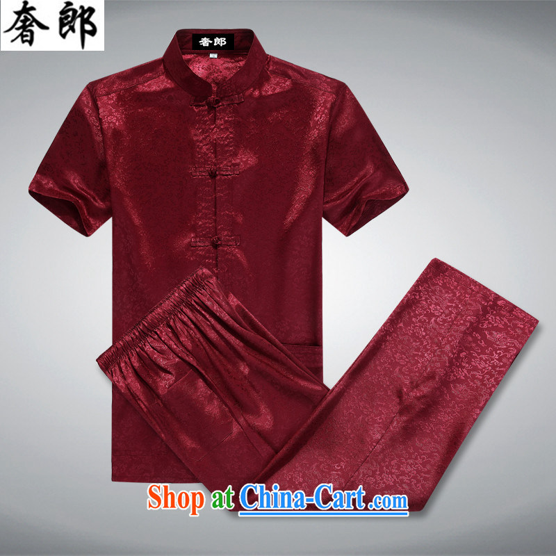 extravagance, Han-summer men's Tang load package short-sleeve middle-aged and older persons is silk men's T-shirt Dad Grandpa summer China wind, served the charge-back casual Red Kit 170_M