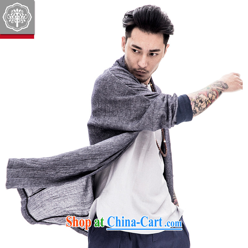 To tree men and Han-improved Chinese men's long-sleeved jacket cotton the male Chinese original spring and summer male Chinese wind stone gray color 180/XL