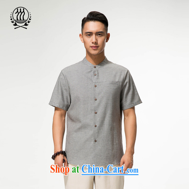 And 3 line summer new, genuine cotton mA short-sleeved T-shirt, older units the Commission the code father with a short-sleeved T-shirt ethnic wind cotton Ma half sleeve T-shirt more color options dark gray XXXL/190