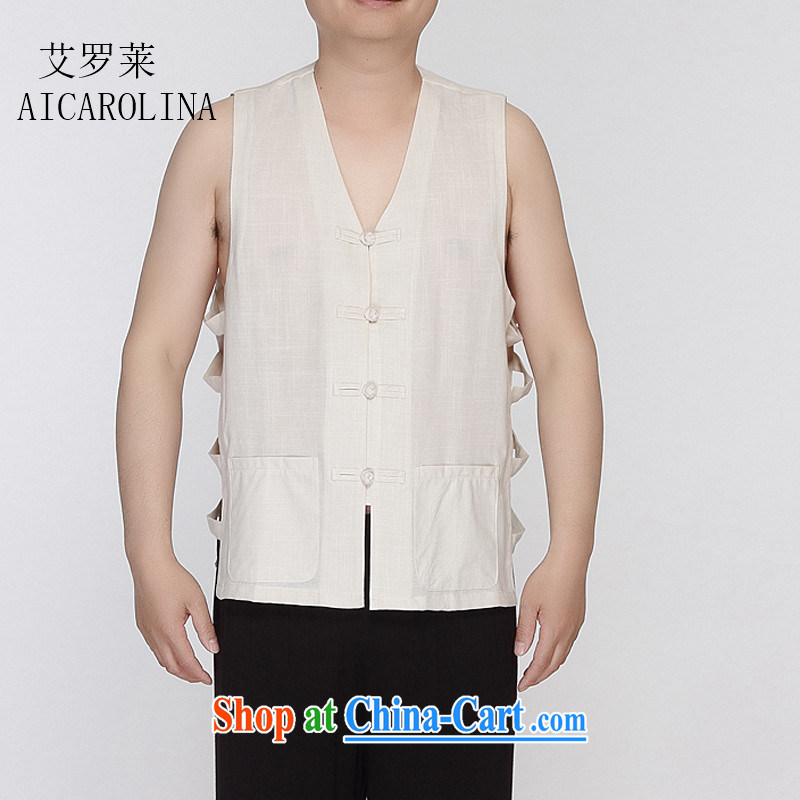 The law in the summer, and a older persons T-shirts Chinese vest Tang replace the shoulder the folder beige XXXL