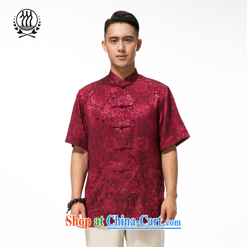 And 3 in the older Chinese men and older persons in summer and a short-sleeved father boxed shirt, manually for the charge-back from hot loose short-sleeved T-shirt deep red XXXL/190