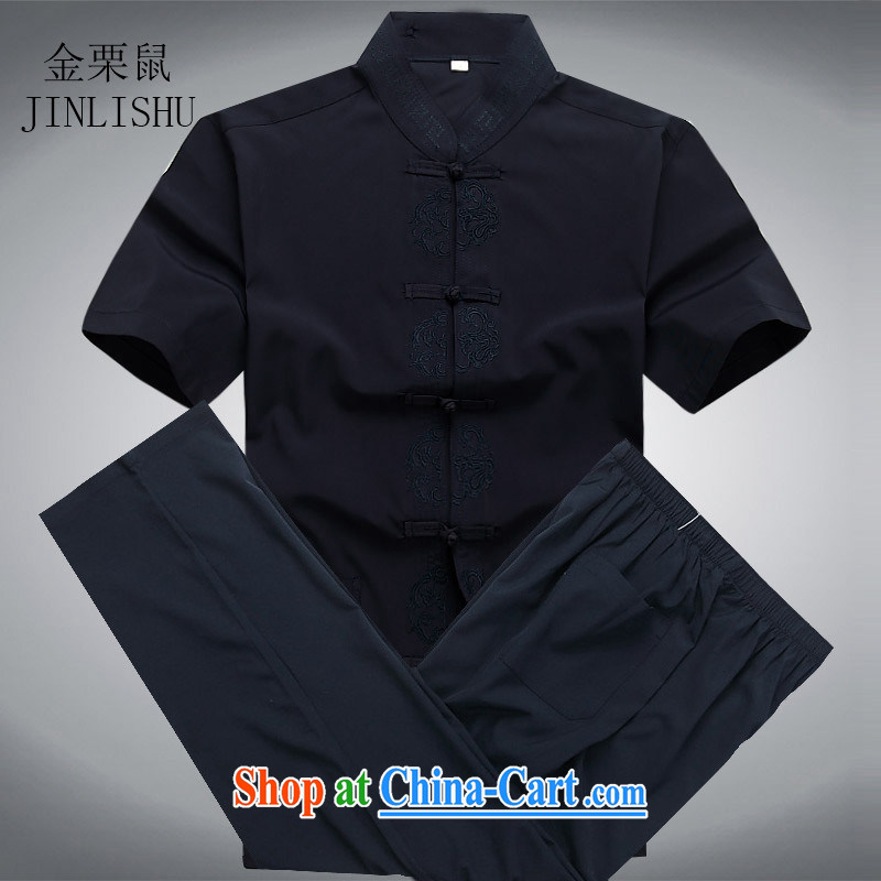 The chestnut mouse summer, middle-aged and older short-sleeved Chinese Chinese father with leisure package men Han-jogging shirt Blue Kit XXXL