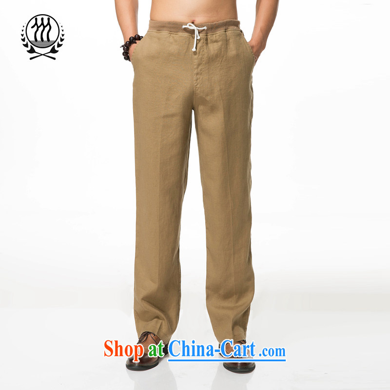 men's cotton Ma leisure loose trousers, Old Summer cotton Ma leisure loose elastic strap trousers ethnic wind cotton the casual trousers brown XXXL/190
