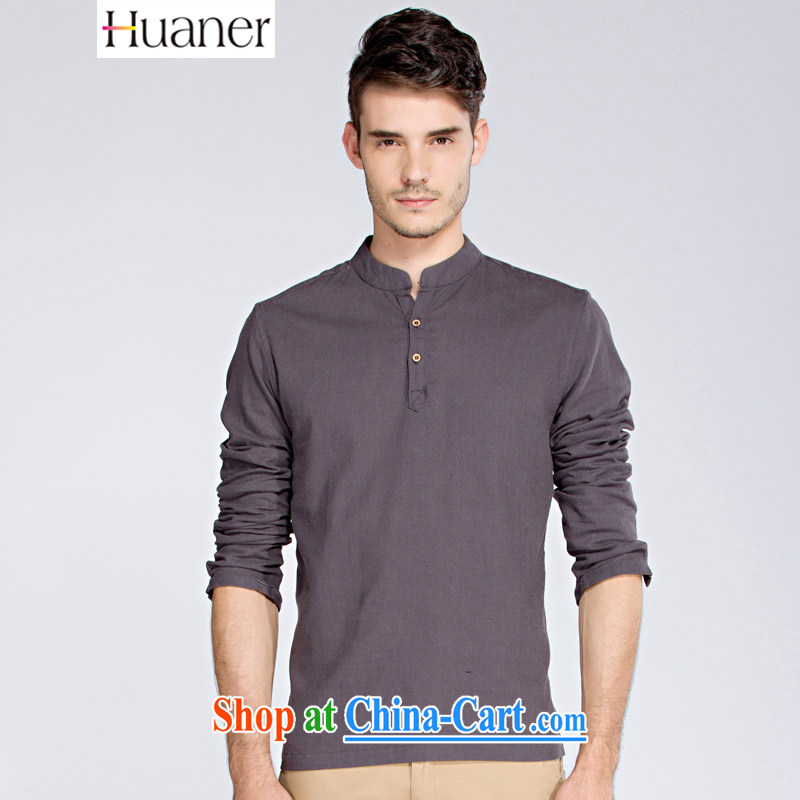 MR HENRY TANG HUANER load short-sleeved men's 2015 summer China wind and smock-han-linen short-sleeve Chinese men's shirts MELD summer blue - Dark purple XXXL