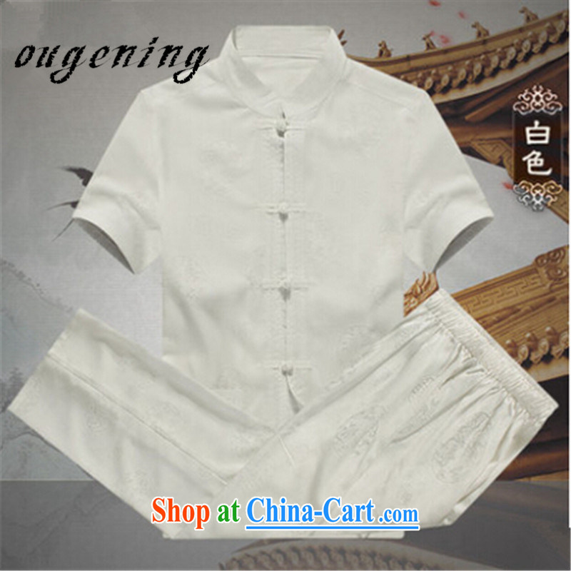 The dessertspoon, summer 2015, men's cotton the Chinese shirt Kit men middle-aged and older, linen backing short-sleeved medieval wind shirt ethnic wind and white XXXL
