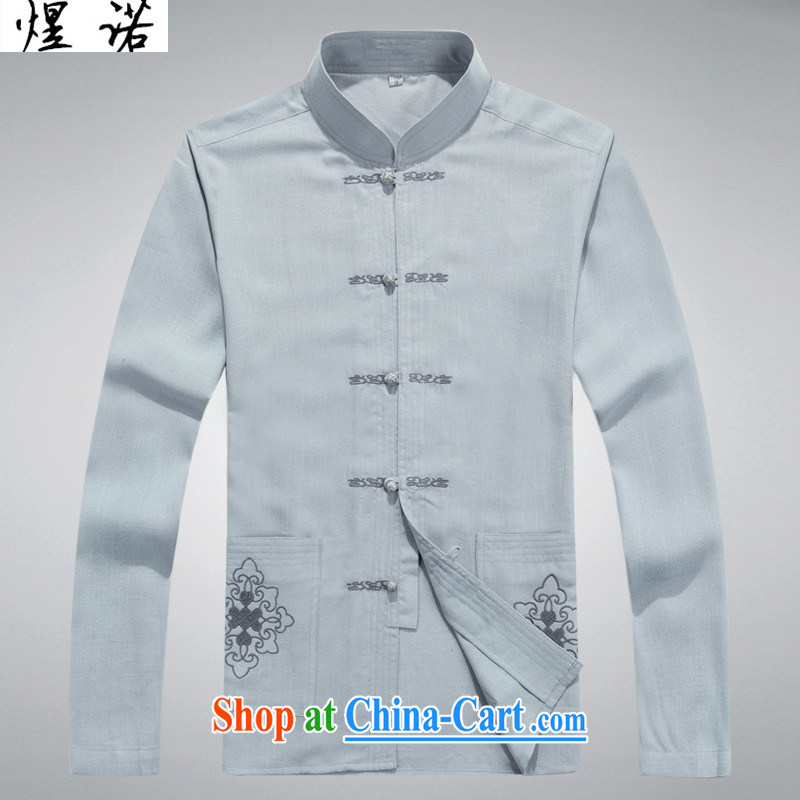 Become familiar with the summer old men tang on the collar long-sleeved cuff thin middle-aged and older men's shirts embroidered with his father the shirt, linen shirt Tang fitted T-shirt large, light gray L/175