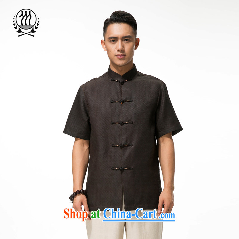 and mobile phone line short-sleeved short summer load new male fragrance cloud yarn and silk Tang replace short-sleeved shirt T-shirt, older men Chinese men incense cloud yarn Tang load short-sleeved brown XXXL_190